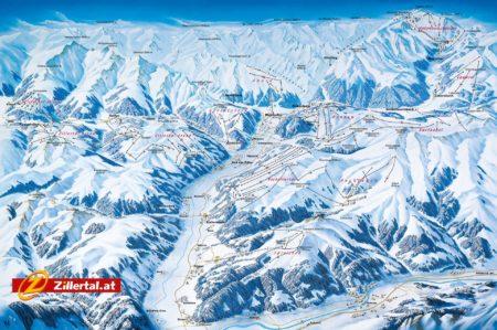 Panoramakarte Skigebiete Zillertal
